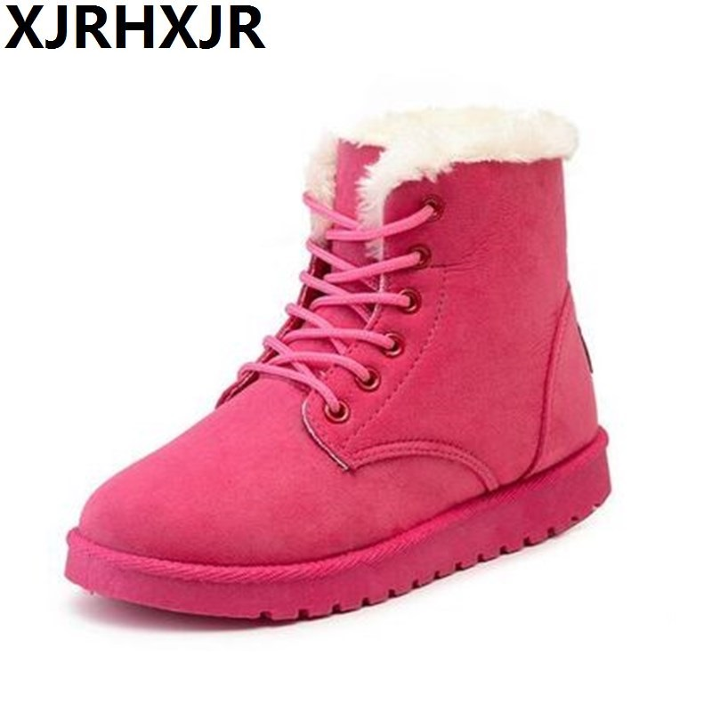 Plus Size Flats Warm Fur Snow Boots Lace Up Round Toe Lovely Women Ankle Boots Pink Brown Winter Boots Shoes free shipping 2016 new winter women snow boots plus size 34 43 round toe lace up warm sweet pink martin boots boty