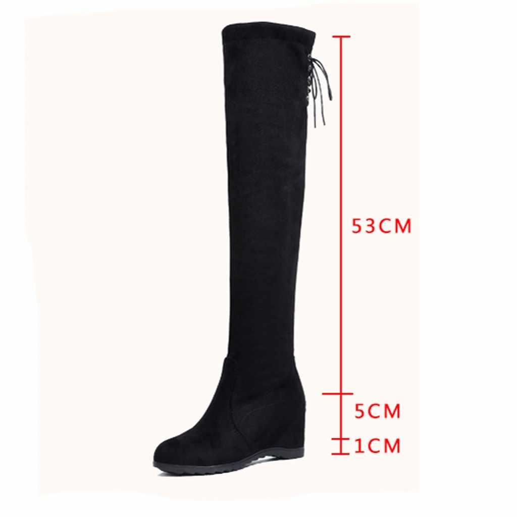 Kadınlar uzun tüp çizmeler düşük topuk takozlar diz 2019 kış parti çizme şık elastik bant sıkı çorap Botas kar ayakkabıları sıcak