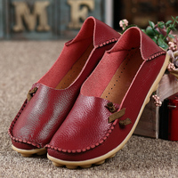 2016 Genuine Leather Women Flats Shoe Fashion Casual Slip On Soft Loafers Spring Autumn Moccasins Female