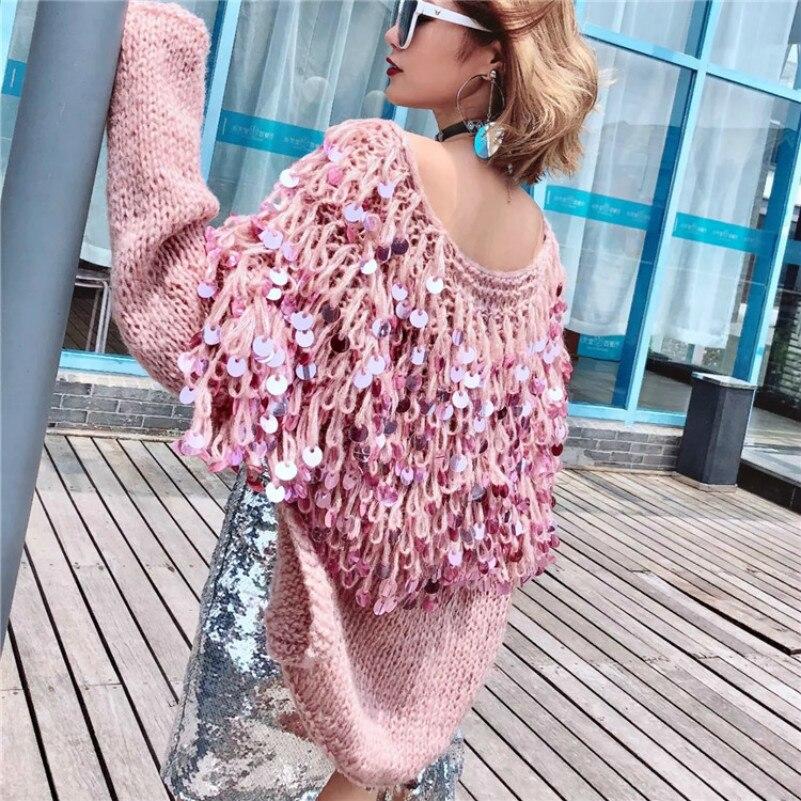 MUXU rose fringe sequin chandail automne de mode femmes chandails à manches longues tricoté sueteres chompa jumper suéter mujer cardigan