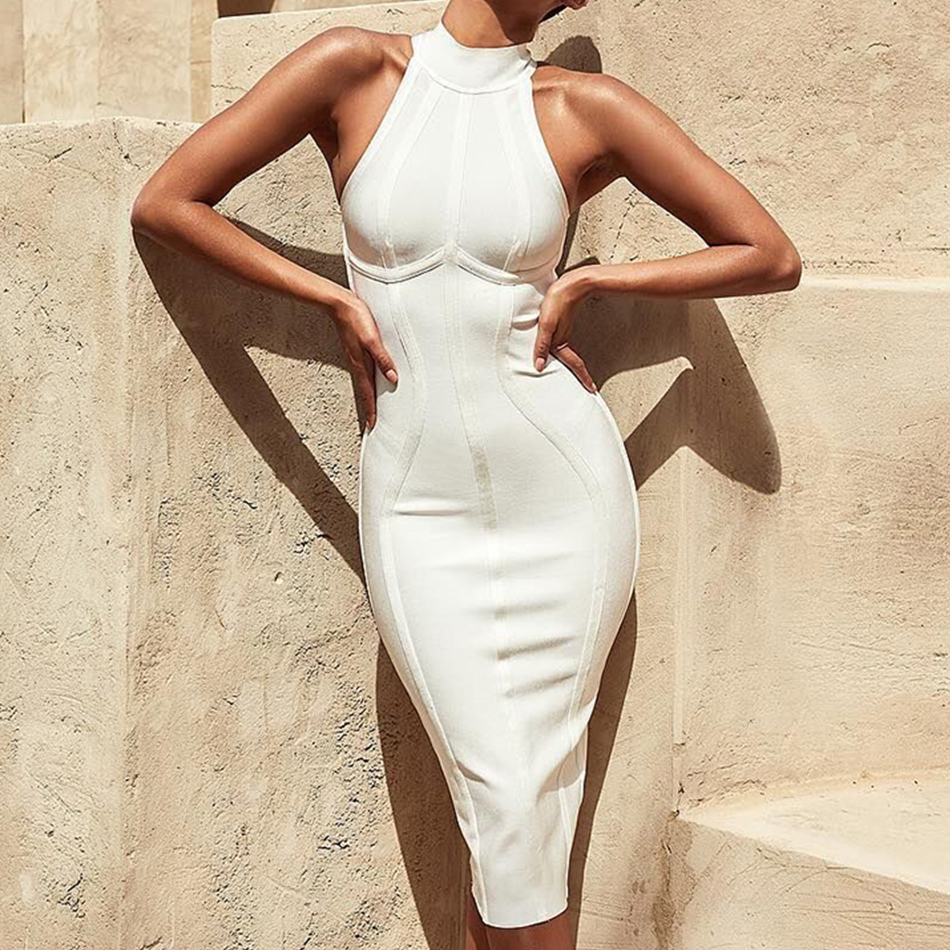 ADYCE 2019 New Summer Women Bandage Dress Vestidos Elegant White Tank Sexy Sleeveless Bodycon Club Dresses Celebrity Party Dress