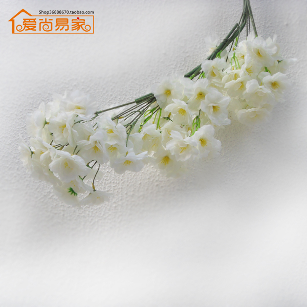 White sakura artificial cherry blossoms branch silk flower white sakura artificial cherry blossoms branch silk flower decoration crafts wedding decor 3pcslot nylon junglespirit Images