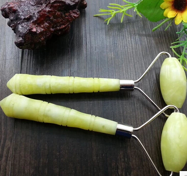 natural yellow-green chinese xiu yan stone massage wheel 2 pcs natural green xiu yan stone facial slimming massager roller therapy health skin beauty tool