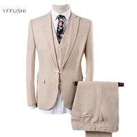 YFFUSHI Latest Design Men Suit Men 3 Pieces Off White Blue Linen Suits Men Tuxedo Grooms