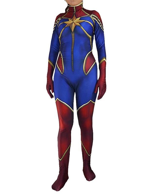Ms Marvel Costume Captain Marvel Costume 3D Print Zentai Lycra Spandex Super Hero Cosplay Halloween Costume Free Shipping