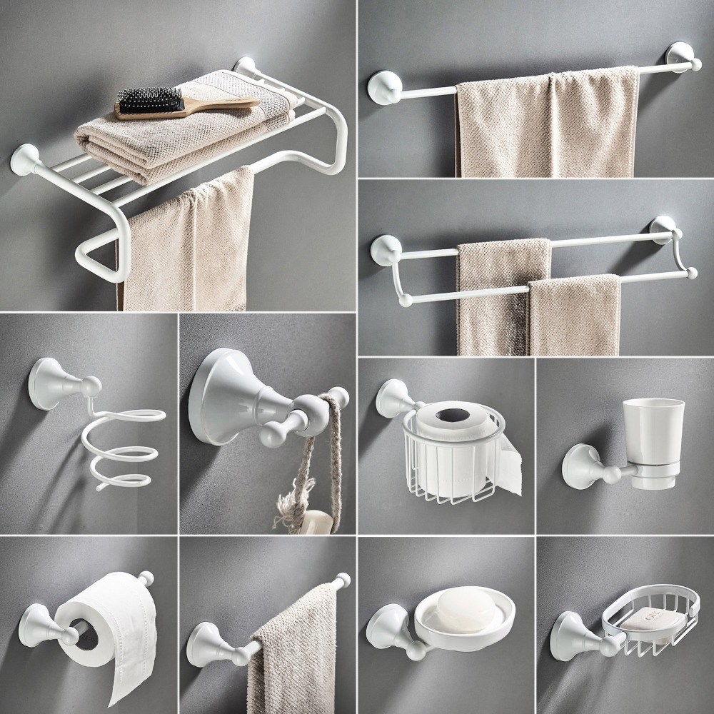 White Bathroom Hardware Accessories Set Brass Shower Soap Dish Hair Dry Holder Towel Rail Bar Robe Hook Toilet Brush Roll Holder