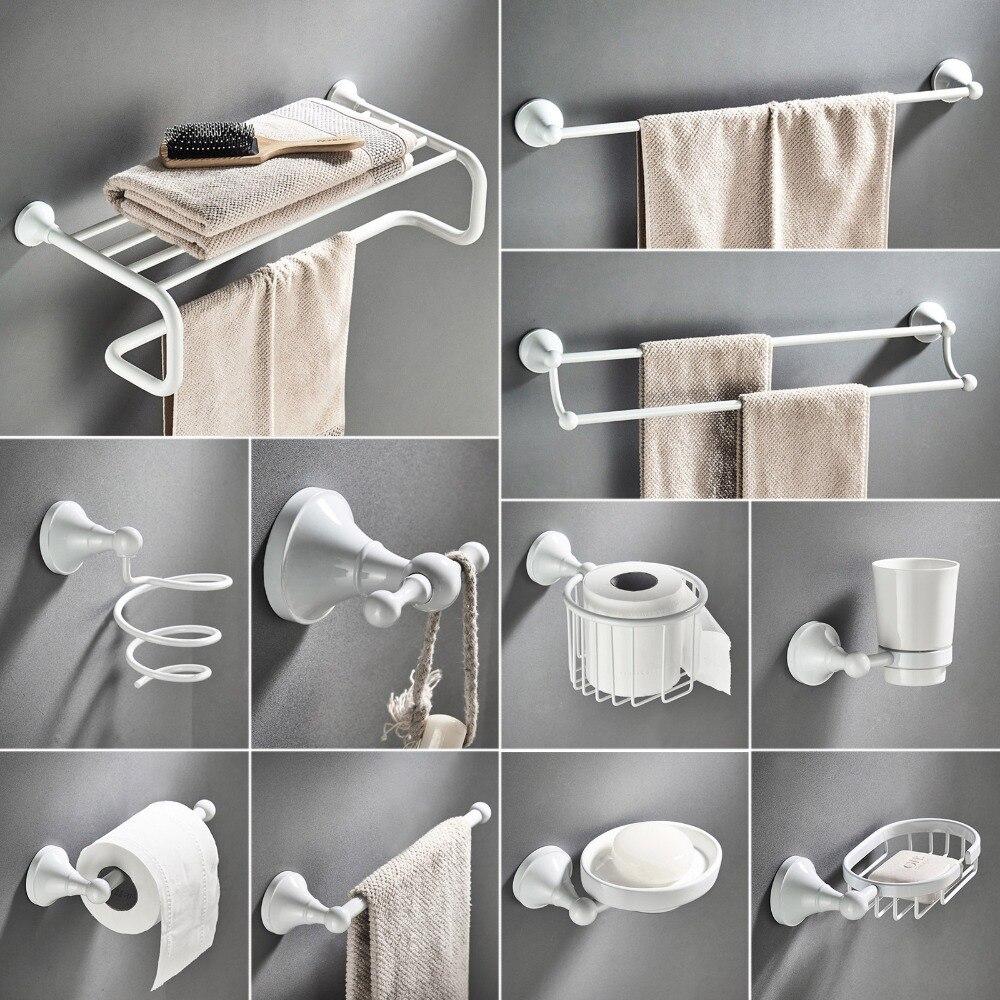 White Bathroom Hardware Accessories Set Brass Shower Soap Dish Hair Dry Holder Towel Rail Bar Robe Hook Toilet Brush Roll Holder ...