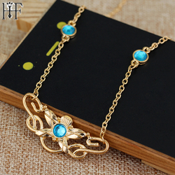 Fahion movie jewelry necklace Eowyn maxi necklace Lord gold necklace inlaid Blue crystal pendant for women jewelry