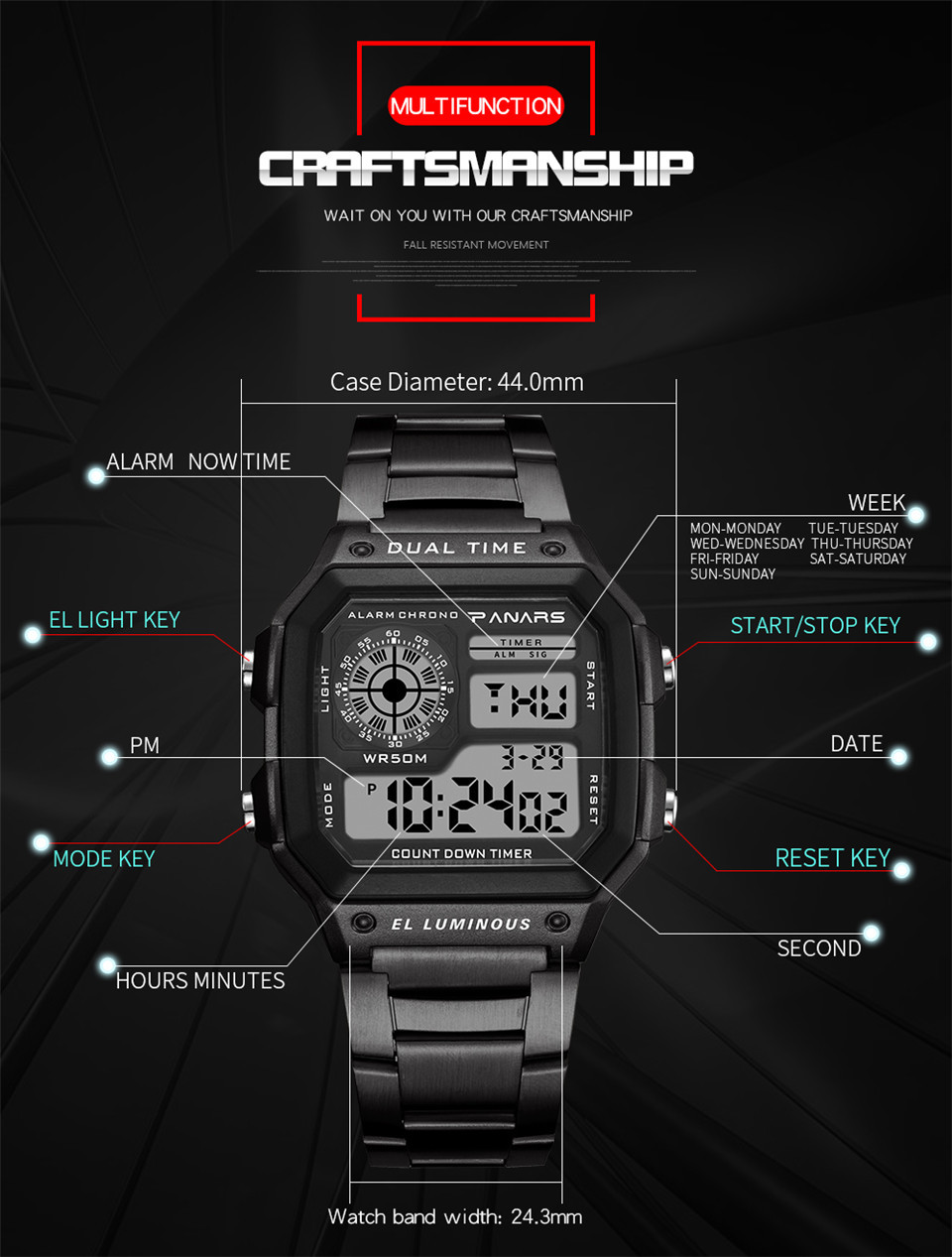 d6b7bfe7488 Relógio eletrônico Digital Wrist Watch Men Electronic Watch Luxury Sport  Watch LED Display Kol Saati Zegarki Meskie Horloges