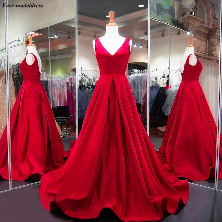 Red   Prom     Dresses   2019 Simple Long Party   Dress   A-Line Backless Plus Size Satin Formal Party Gowns Vestidos De Festa Cheap