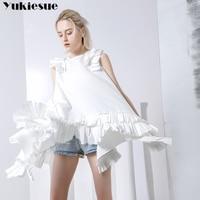 Harajuku Asymmetry ruffles blouse shirt women blusas 2018 summer style butterfly sleeveless loong womens tops and blouses shirts