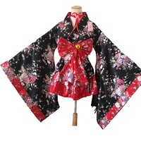 Women's Sexy Sakura Anime Costume Japanese Kimono Costume Vintage Original Tradition Silk Yukata Dress M XXL