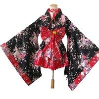 Women's Sexy Sakura Anime Costume Japanese Kimono Costume Vintage Original Tradition Silk Yukata Dress M XXL