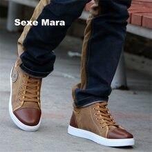 d5847e0bc Novos homens moda casual homens sapatos de Alta ajuda de couro Liso sapatas  de lona coringa
