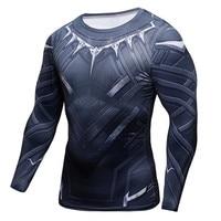 Black Panther Fitness MMA Compression Shirt Men Anime Bodybuilding Long Sleeve Crossfit 3D Superman Punisher T