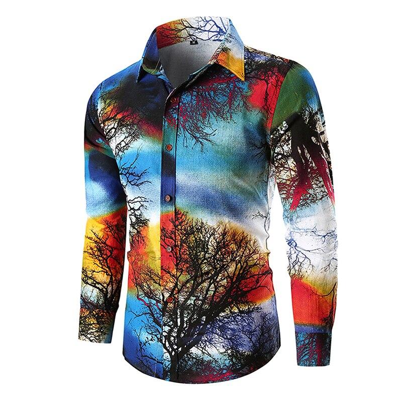 1 Stücke Baum Drucken Schlanke Männer Shirts Mode Langarm Casual Shirts Fit Männer Der M-3xl HeißEr Verkauf 50-70% Rabatt