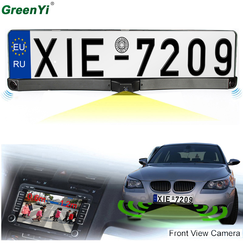 HD CCD EU European Car License Rear View Camera Front View Camera License Plate Frame Parking Camera With Two Parking Sensors 1 pair 52cm x 11cm front and rear eu plate stainless steel eu number license plate bracket frame holder car styling