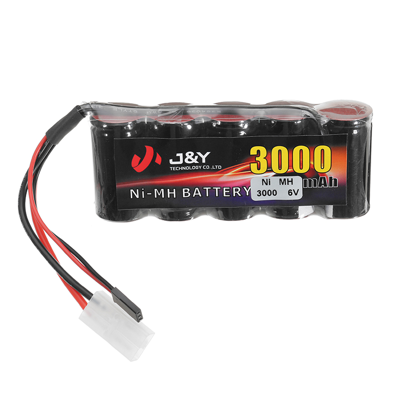 цена на High Quality J&Y 6V 3000mAh NiMH Rechargeable Lipo Battery Pack FUTABA Plug for Servo RC Transmitter