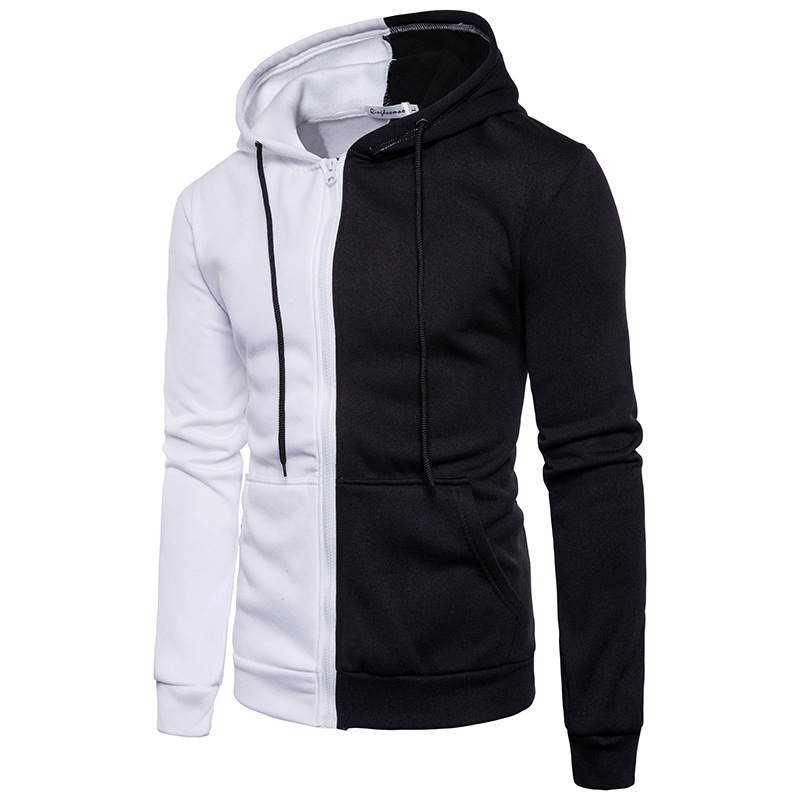 US $16.08 33% OFF|EU Size Fashion half white half black Hoodies patchwork hooded hoodie Autumn Sweatshirts Men Hip Hop Tracksuits Man's Clothing in