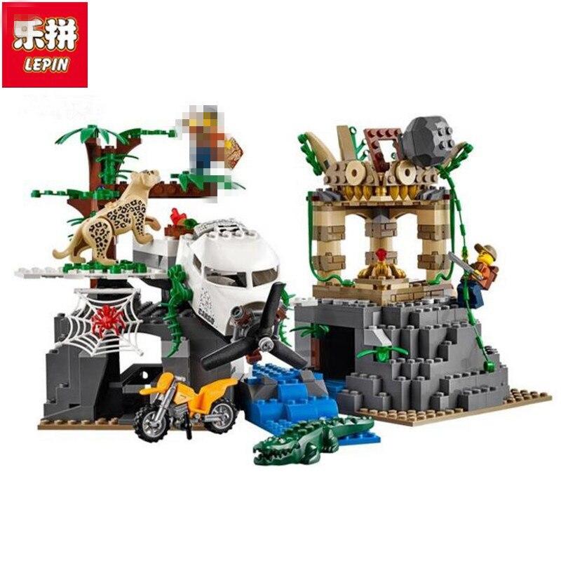 Lepin 02061 870pcs City Series Exploration Of Jungle Building Block Compatible 60161 Brick Toy цена и фото