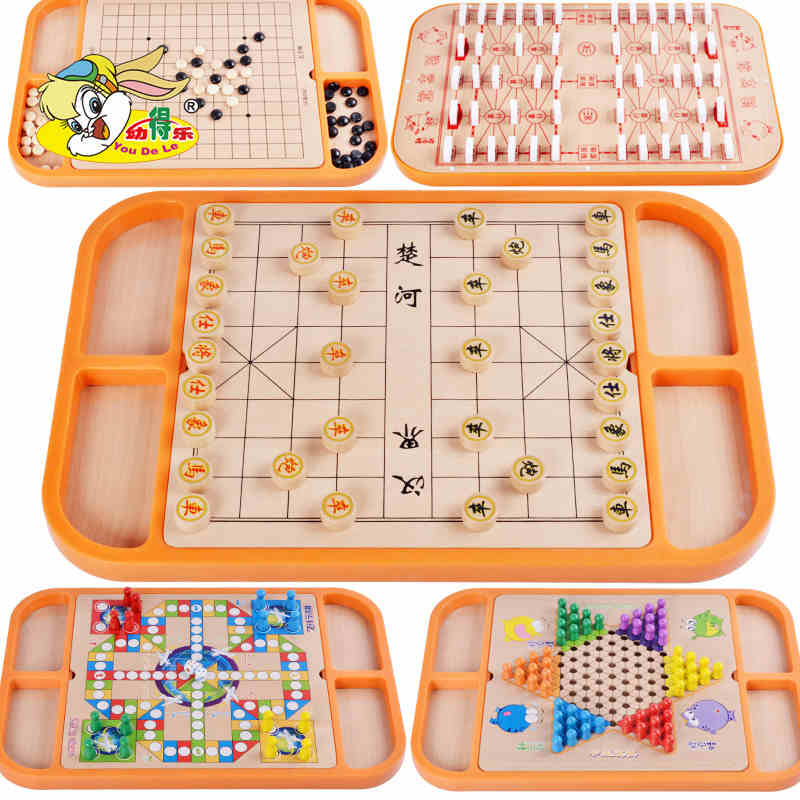 chess for children eighteen in one flight chess game backgammon checkers wooden parent-child puzzle chess toy eighteen disciples of the buddha children puzzle toy building blocks