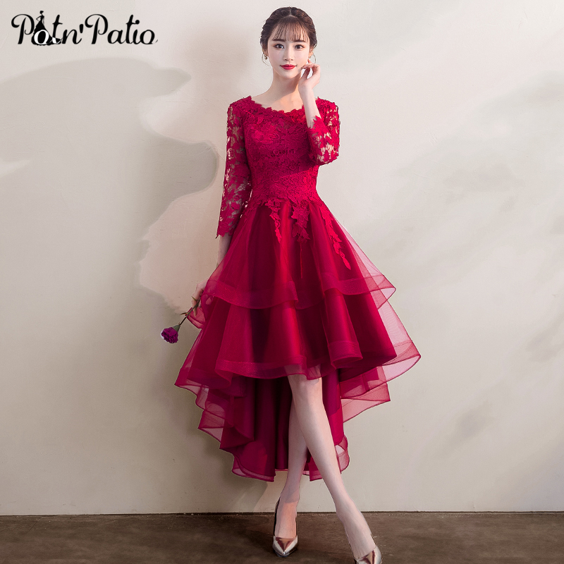 Elegant High Low Tulle   Evening     Dress   with 3/4 sleeve Burgundy Lace Applique   Evening   Formal   Dress   Red Party Gowns
