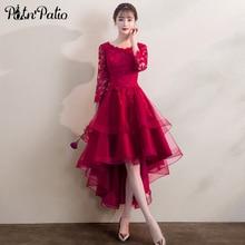 Elegante alta baixa tule vestido de noite com 3/4 manga borgonha renda applique noite formal vestido vermelho vestidos de festa
