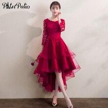 Zarif yüksek düşük tül akşam elbise 3/4 kollu bordo dantel aplike akşam resmi elbise kırmızı parti törenlerinde
