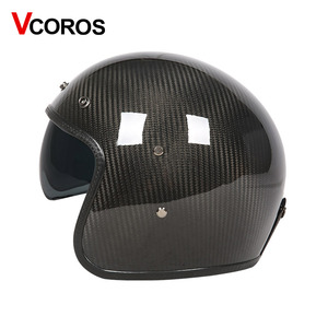 Image 3 - VCOROS Brand Carbon fiber Vintage motorcycle Helmet 3/4 Retro Motorbike helmet open face moto helmets ECE approved