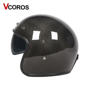 Image 3 - VCOROS ブランド炭素繊維ヴィンテージ moto rcycle ヘルメット 3/4 レトロ moto rbike ヘルメットオープンフェイス moto ヘルメット ece 承認