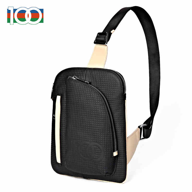 100 brand genuine leather Mens chest bag Messenger bag new trend of casual men bags