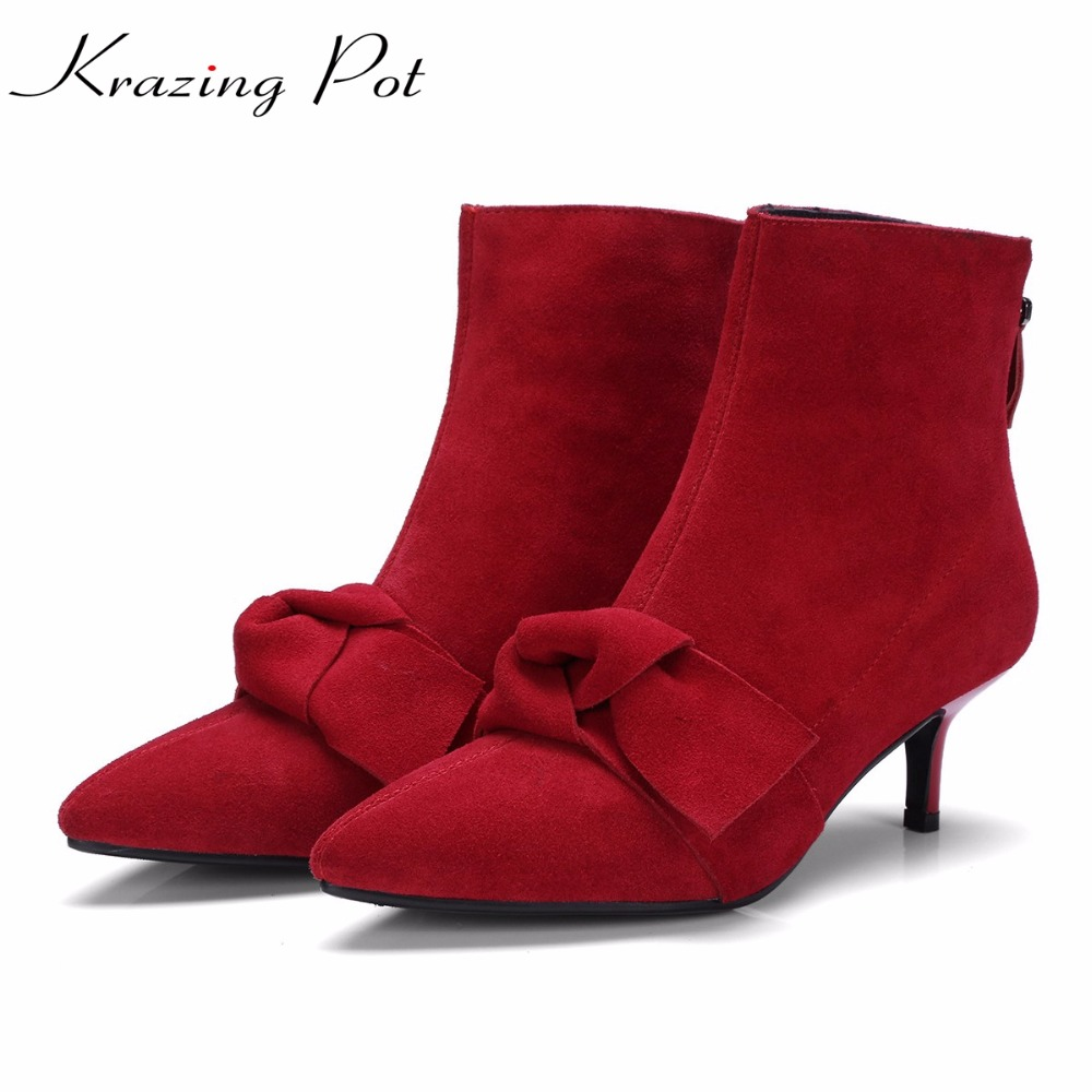 Krazing Pot cow suede zipper solid bowtie high street fashion Chelsea boots young lady superstar thin high heel ankle boots L15 2018 fashion cow leather zipper superstar winter boots women round toe low heel solid concise pregnant chelsea ankle boots l08