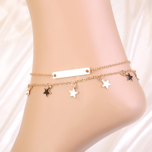 bracelet plated jewelry toe foot women celebrity simple fine chain link anklets ankle de anklet cheville bracelets item unique hot indian nice chaine new