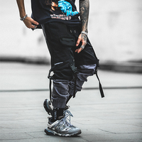Ribbon Men Black Cargo Pants With Many Pockets Harajuku Harem Pants Streetwear Men Clothing kargo pantolon macacao masculino