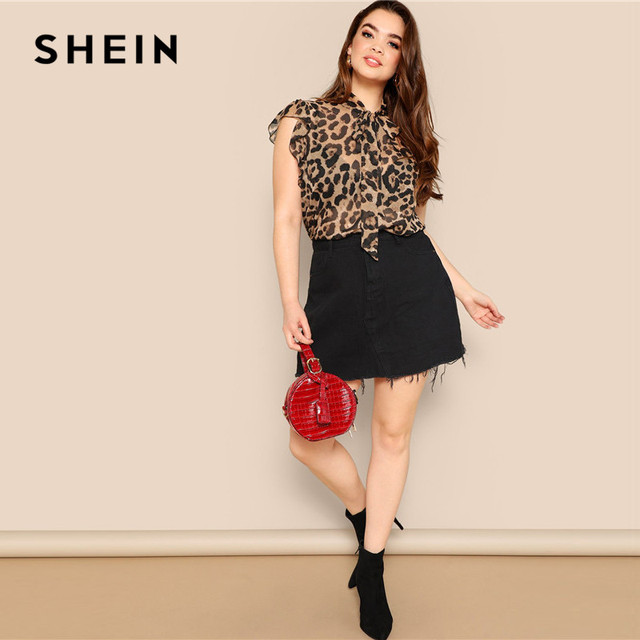 SHEIN Plus Size Women Blouses Tied Neck Sexy Leopard Print Sheer Sleeveless Blouse Ruffle Trim Shoulder Summer Thin Tops Blouses 4