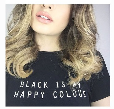 BLACK IS MY HAPPY COLOR Letter Print T-Shirt Women Sexy Summer Style t  shirt Cotton Casual White Black tops Hipster tees bf281f4aca4