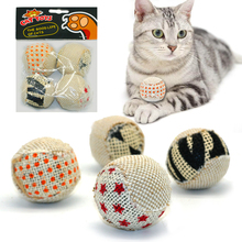 Chewing rattle-scratch cat toy balls (4 pcs set)