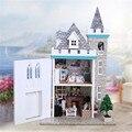 Nova Casa De Bonecas Em Miniatura Casa de Bonecas Kit DIY Artesanato Com Luar Castelo Set Melhor Presente de Aniversário Decoração de Móveis Para Crianças