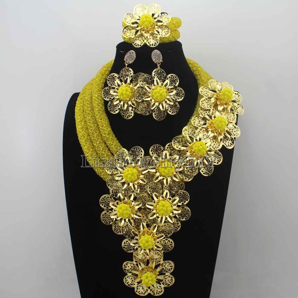 Gorgeous Yellow flower Crystal Statement Necklace Set Weddingafrican beads jewelry set necklace Women Free Shipping HD8747 nylon rope alloy statement necklace set