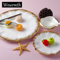 Wourmth High Quality Bone China Dinnerware Western Style Hotel Fashion Tableware Steak Cake Fruit Plate Of