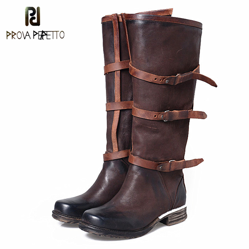 Prova Perfetto England Style Retro Design Square Toe Buckle Strap Woman Knee High Boots Genuine Leather Low Heel Motor Boots prova perfetto genuine leather mixed metal decoration mid calf boots square toe thick heel buckle belt retro matrin boots women