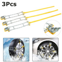 3Pcs Universal S/M/L Car Auto Winter Anti skid Steel Chains Car Skid Belt Snow Mud Sand Tire Clip on Chain