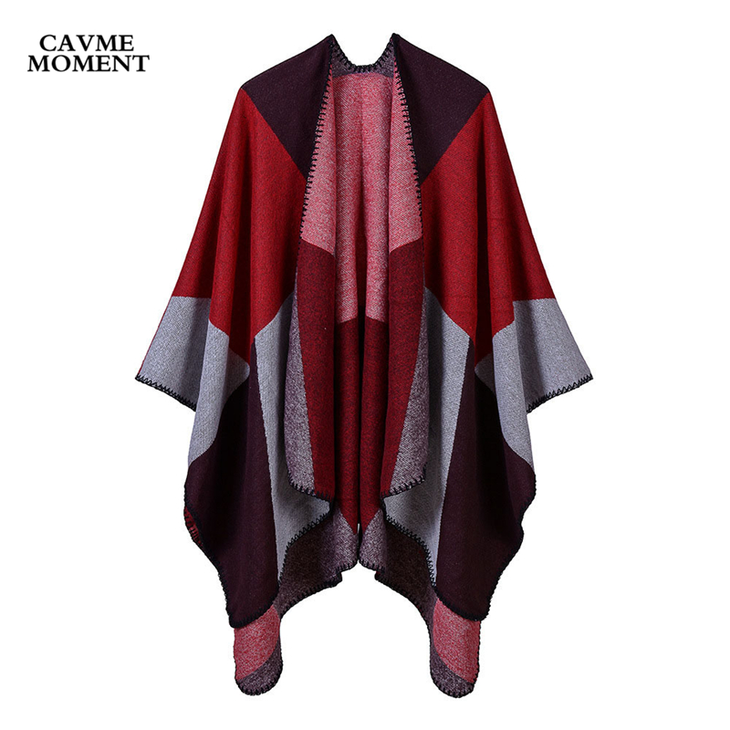 2019 Women's Poncho Largue Scarf Shawl Cape Ladies Scarves Wrap Printed Geometric Double Wearing 50% Polyester 50% Acrylic