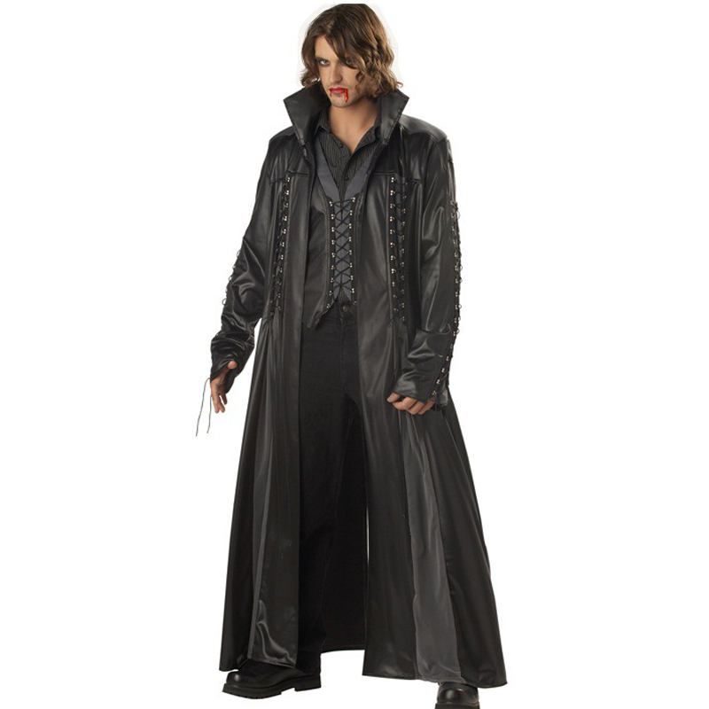 Halloween Adult Mens Vampire Costume Count Dracula Fancy Dress Outfit Cape The Matrix Killers PU Leather Club DS Fancy Dress