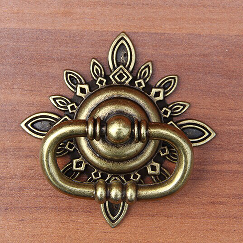 Bronze Dresser Drawer Pull Shaky Drop Rings Handles Antique Brass Square Back Plate Vintage Style Cabinet Handle Decorative Knob retro style decorative hourglass sandglass antique bronze
