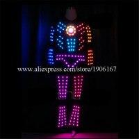 Красочный светодиодный tron костюм робота вечерние Дискотека одежда для бальных танцев СВЕТОДИОДНЫЙ Программируемое освещение мужская одеж