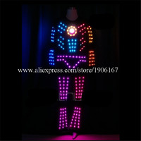 Colorful LED tron robot costume party disco wear ballroom led programmable light up men clothes dj dance show performance suit
