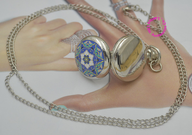 wholesale buyer price good quality silver mirror sketch drawing blue vintage star flower pocket watch necklace hour antibrittle