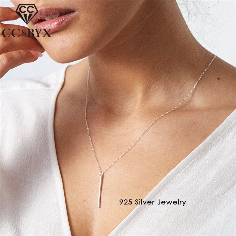 CC Sterling Silver 925 Necklaces Pendants For Women Stick Long Pendant Link Chain Square Necklace Strip Fashion Jewelry CCN303CC Sterling Silver 925 Necklaces Pendants For Women Stick Long Pendant Link Chain Square Necklace Strip Fashion Jewelry CCN303