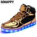 Новый 2017 Большой Размер 35-46 USB LED Light Обувь Мужская 7 цвета Светящиеся Мода Привела Обувь Квартиры Высокого верха Взрослых Lumineuse Мужская Обувь